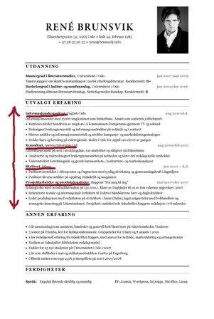 cv nøkkelkvalifikasjoner